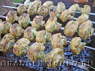 Вегетарианские рецепты с фото: шашлык из грибов шампиньонов