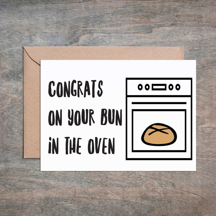 Bun in the Oven Baby Shower Card Baby Shower Card. Funny Baby Shower Card.