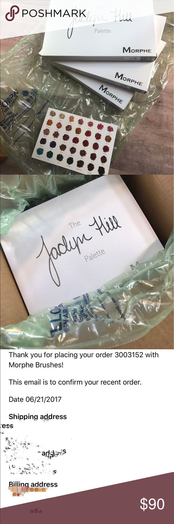 Jaclyn hill x Morphe palette Received mine two days ago! I have an extra two. Closest offer to my listing price gets them. Will send a copy of the shade card ( only received one) jaclyn hill Makeup Eyeshadow