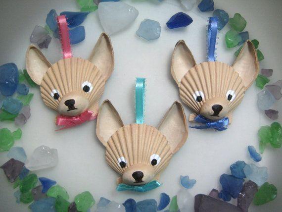 Mini Chihuahua Ornaments Set of 3 Hand painted by Lorishellart, $33.00