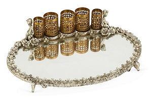 Vintage Mirrored,Footed Dresser Tray w/Gilt Lipstick Holders w/ puti/cherub motif