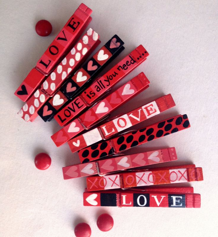10 LOVE CLOTHESPINS hand painted magnetic pegs Valentine's Day by SugarAndPaint on Etsy