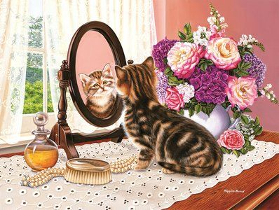 Kitten in the Mirror (300 Large Piece Puzzle by SunsOut)