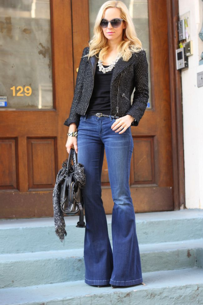 Bell-bottom jeans looked updated and chic paired with a textured blazer and the right accessories.