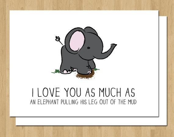 Valentine Card Funny Elephant Love Anniversary Wedding By
