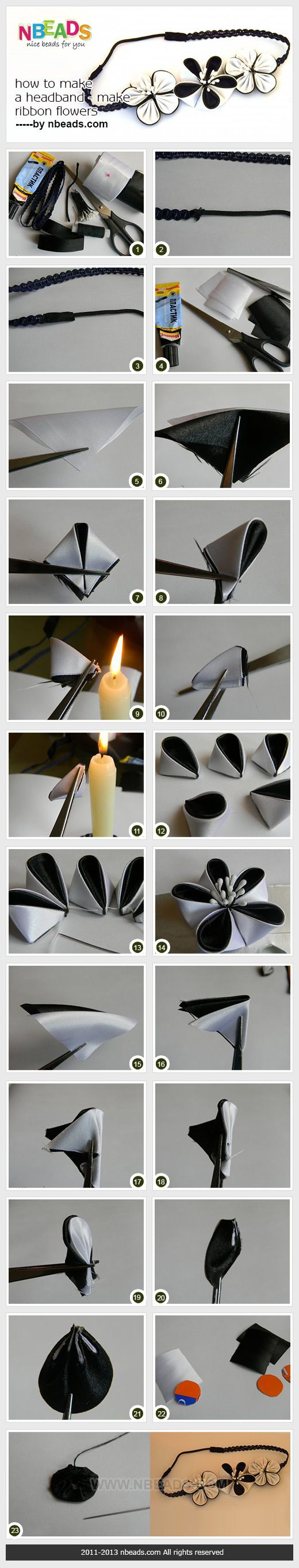 how to make a headband - make ribbon flowers