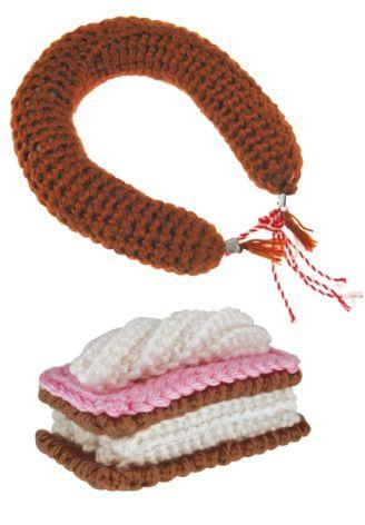 Dutch crochet pattern HEMA rookworst/tompouce http://www.hema.nl/onlinewinkelen/hobby/Pages/zelf-maken.aspx