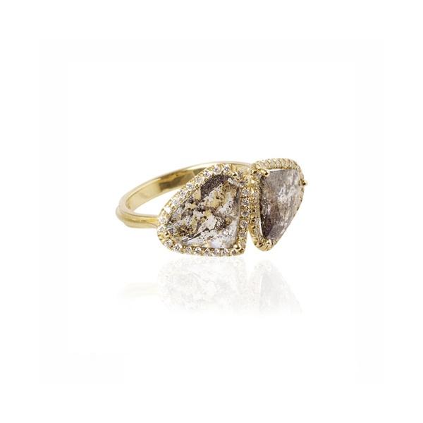 Brooke Gregson: Double Diamond Shield Ring-Grey rose cut diamond with micro pave set white diamonds
