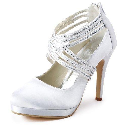 Oferta: 55.99€. Comprar Ofertas de ElegantPark EP11085-PF Zapatos de tac¨®n Plataforma Rhinestones Cerrado Zipper raso zapatos de novia mujer marfil talla 38 barato. ¡Mira las ofertas!