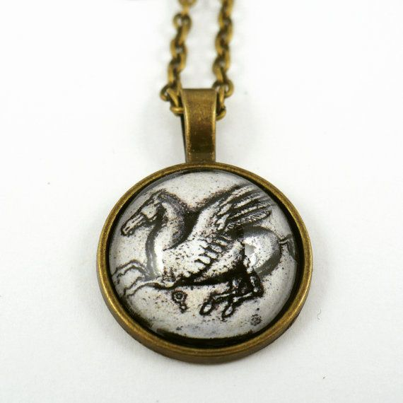 #ArtPassionBijoux by Sara, #italian #handmade #jewelry inspired by #art - #Ancient #coin medallion: #Greece, Corinth, #history, #horse #Pegasus #archaeology