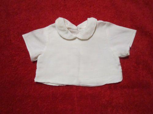 Schoene-alte-Puppenkleidung-Huebsche-weisse-Bluse-Kurzarm