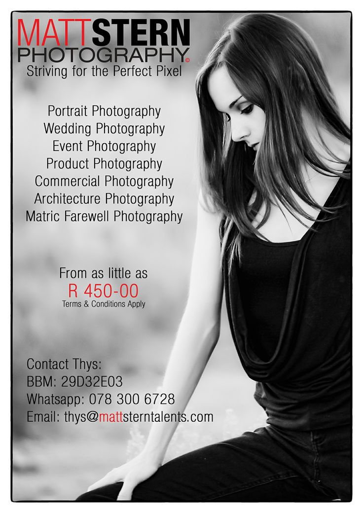 June Special: Couples or Family Shoot R 650 for 15 Full Edits on Disc Terms & Conditions Apply BBM: 29D32E03 Whatsapp: 078 300 6728 Email: thys@mattsterntalents.com www.facebook.com/matt.stern.photography/