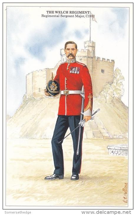 """British; The Welsh Regiment Regimental Sergeant Major, c.1912. note the War Office only authorised the """"WELCH"""" spelling in a letter dated 27th January 1920."""