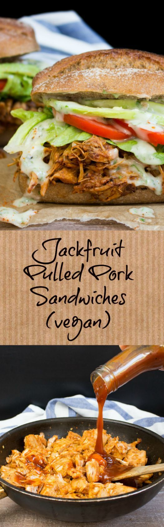 These jackfruit pulled pork sandwiches with avocado and ranch sauce don't only look like the real thing, but they also taste amazing!! #vegan #sandwich #jackfruit @veganheavenorg