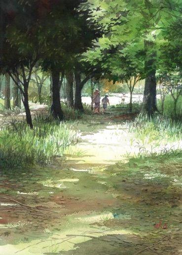 赤坂孝史 水彩画 街の景色 - Takashi Akasaka もっと見る