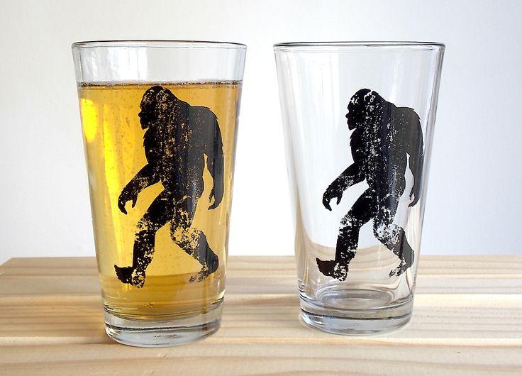 Bigfoot Beer Glasses  Set of two 16oz. Pint by CrawlspaceStudios, $20.00