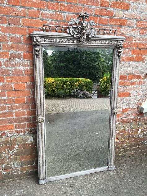 A Stunning highly decorative large Antique 19th Century French carved wood & gesso silvered & distressed painted Mirror. (ref. 2382).