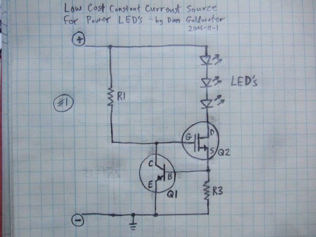 Power LED's - simplest light with constant-current circuit - Español