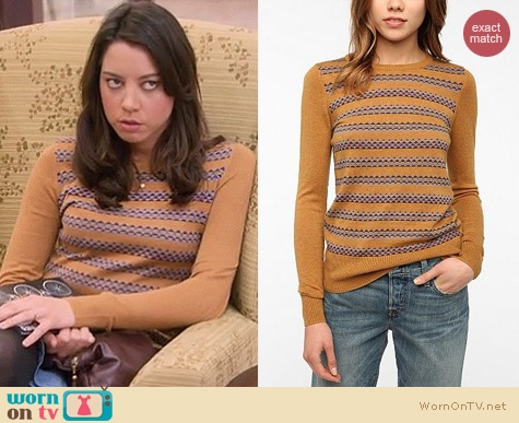 This site is great!!! Outfits from TV and where to get them.  Parks & Rec Fashion: Urban Outfitters Coincidence and Chance Jane sweater worn by April Ludgate