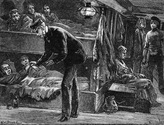 Irish Potato Famine: victims of the Irish Potato Famine immigrating to North America by ship