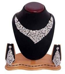 Buy Sukkhi Youthful Rodium plated AD Stone Neclace Set 1001V  Necklace online