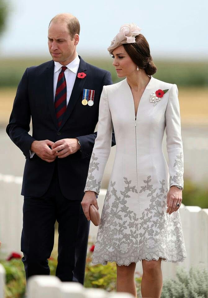 31 July 2017 - William and Kate attend the commemorations at Tyne Cot with King Philippe and Queen Mathilde of Belgium - coat by Catherine Walker