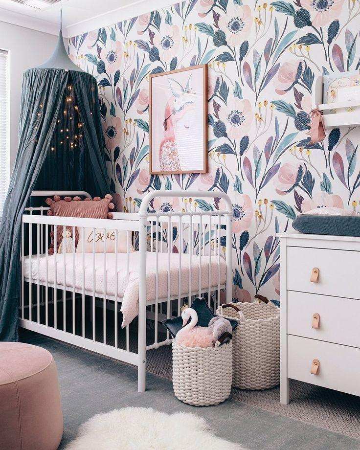 Peony Flowers Wall Stickers Vintage Peach Peonies Wall Art In 2020 Girl Nursery Room Baby Girl Nursery Pink Pink Nursery Walls