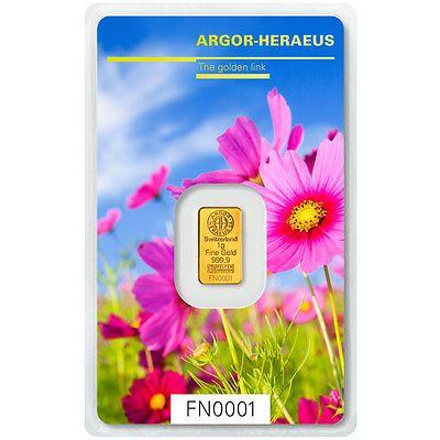 Goldbarren aus der Following Nature Serie von Heraeus - Motiv: Frühling, hier 1 Gramm Gold