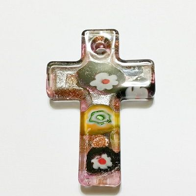 Pandantiv Murano mov cu auriu si floricele, cruciulita 5x3.5x0.7mm