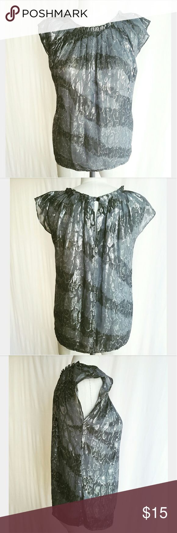 Michael Korea Silver Metallic Blouse Such a cutie! Flutter sleeves Excellent condition Michael Kors Tops Blouses