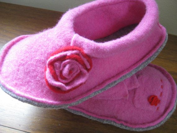 Felted wool slippers  size 6-7 (S) Pink on Etsy, $33.00