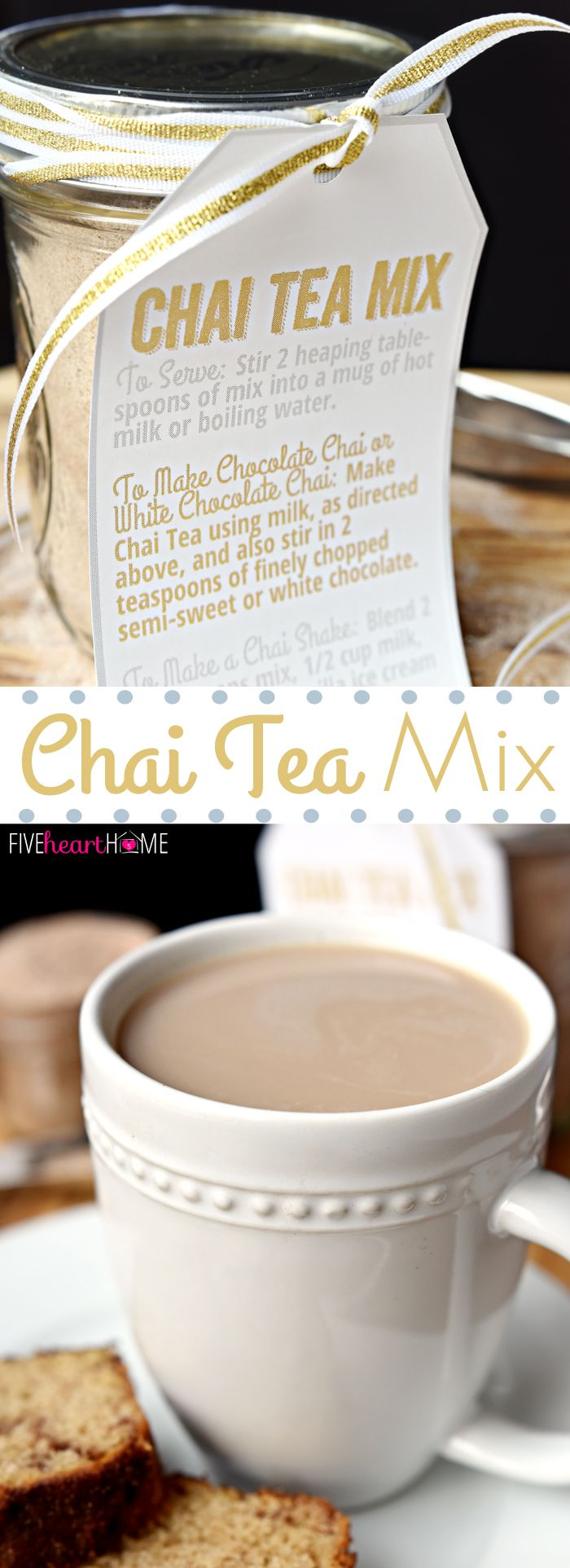 Chai Tea Mix ~ a unique homemade food gift for those who love Chai Tea; use the mix to whip up everything from copycat Starbucks Chai Tea Lattes to Chai Milkshakes, and include the free printable gift tags with directions for gift giving! | FiveHeartHome.com