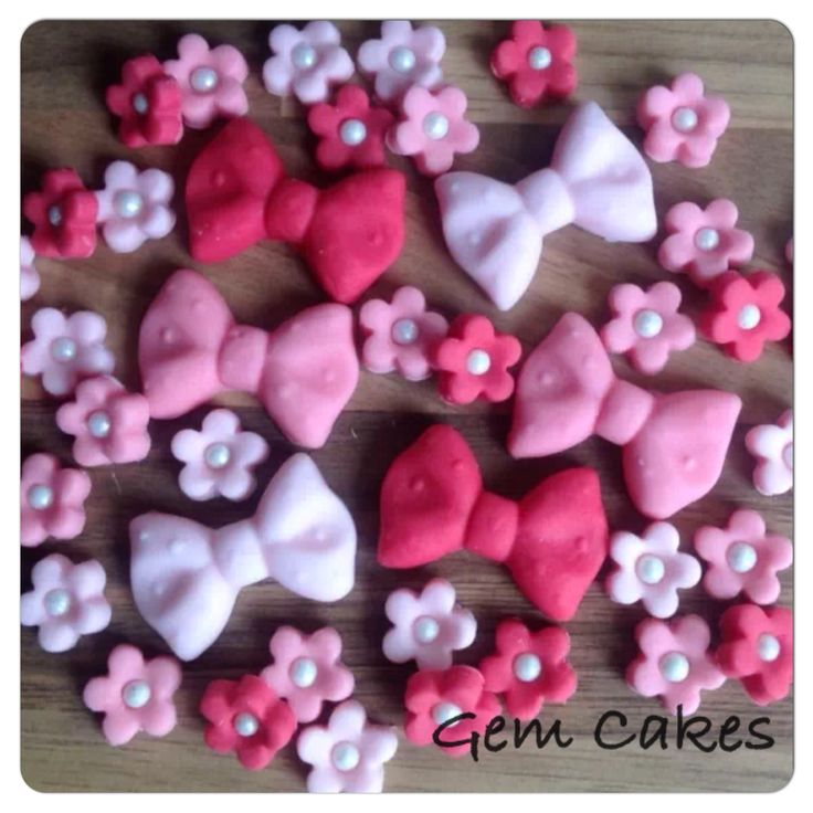 Edible baby Shower christening Pink Flowers and Bows cupcake toppers decorations for Girls