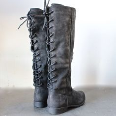 laced up weathered riding boots - black - shophearts - 1