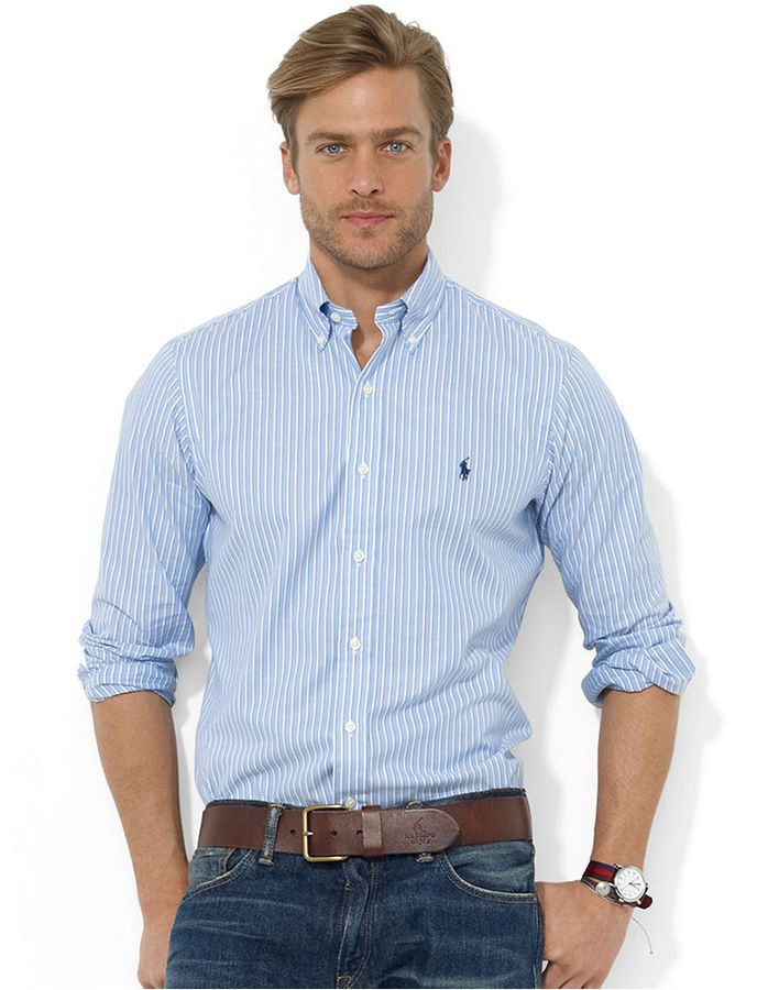 White and Blue Vertical Striped Dress Shirt by Polo Ralph Lauren. Buy for $89 from