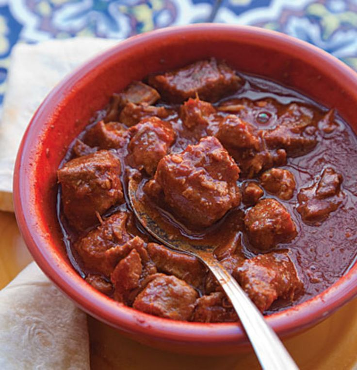 Red Chile and Pork Stew (Carne Adobada), A staple in New Mexico, this pork stew gets its flavor from an earthy, sweet chile powder available at most Mexican specialty stores.