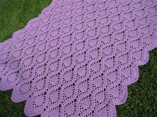 free crochet afghan patterns | lavender pineapple pattern afghan - Media - Crochet Me