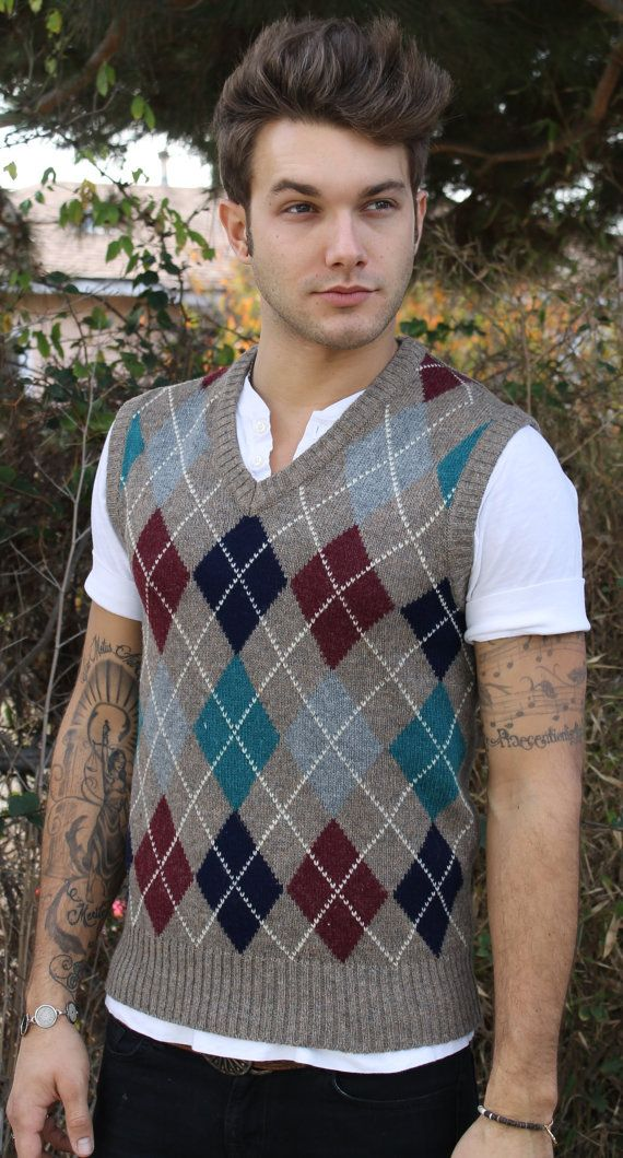 80s Mens Argyle Sweater Vest by claybrooke by BlessedWreckage, $29.00
