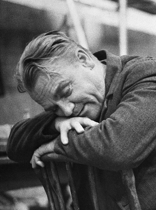 """""""A tired James Cagney rests his head on the back of a chair during a break in filming The Gallant Hours, 1959."""""""