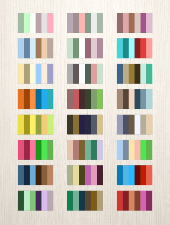 24 Complementary Color Palettes /  This FREE download pack includes ->  24 ASE packs • 6 complementary swatch sets each • A bonus AI file