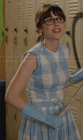 Jess�s blue gingham checked dress on New Girl.  Outfit Details: http://wornontv.net/28447/ #NewGirl