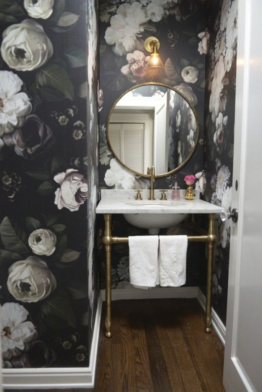 guest bathroom - floral wallpaper, gold accents