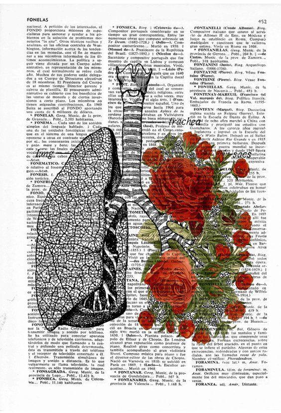 Flowery Lungs human Anatomy Print on dictionary page - boyfriend gift - Anatomy art, love wall art, human anatomy art, lungs and roses art: