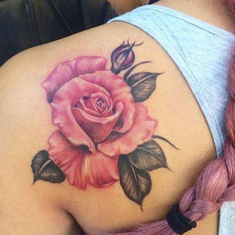 Sweet Pink & Grey Rose Tattooed by: >> { @emscottla } …