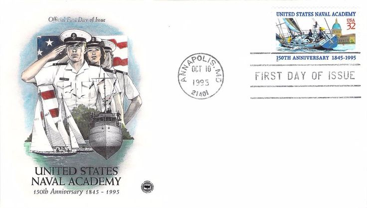 1995 United States Naval Academy Hand Colored PCS First Day Cover