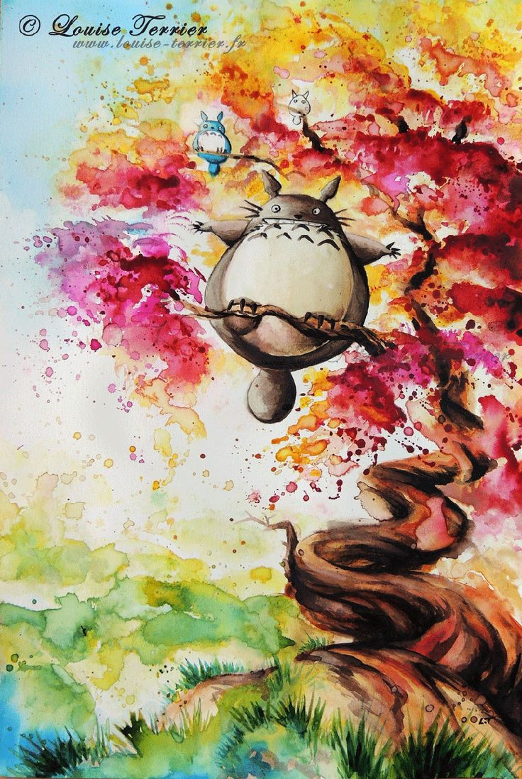 Fans of Japanese animation will instantly recognize the inspiration found in these beautiful paintings by Louise Terrier.