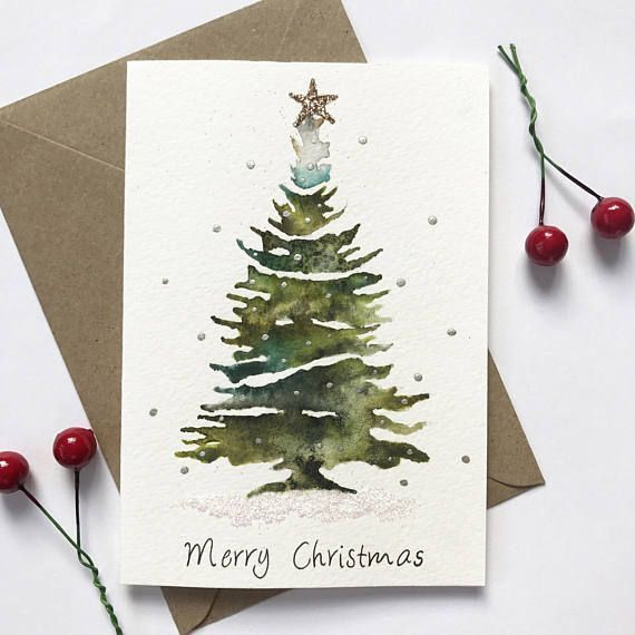 Watercolor Christmas Tree Glittering Christmas Card Festive