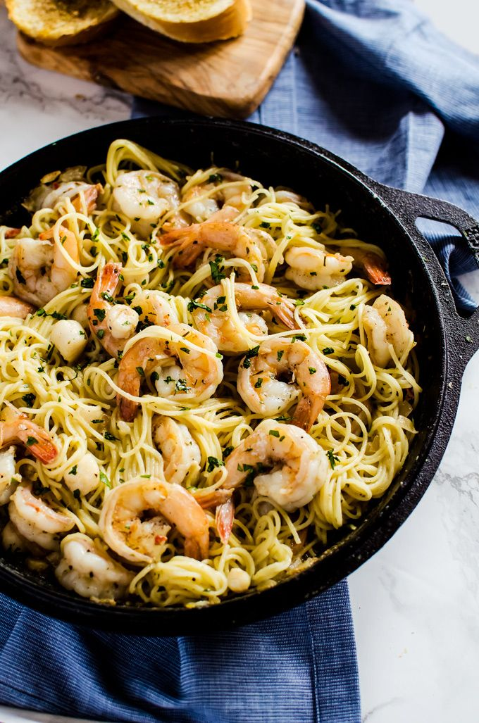 Brown Butter Shrimp Scampi with Scallops