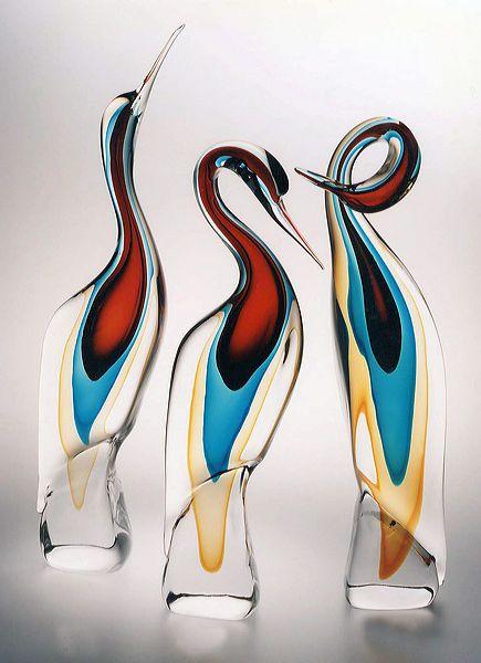 Interesting trio - Murano Glass Heron Sculpture.....