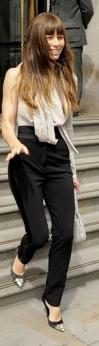 Jessica Biel: Shirt and pants - Elie Saab Shoes - Louis Vuitton Purse - Fendi